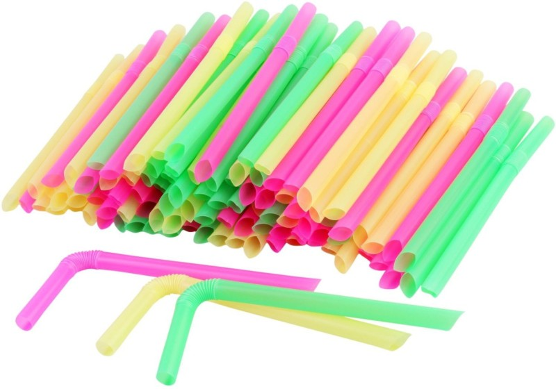 HOKIPO Bendable Drinking Straw(Multicolor, Pack of 100)