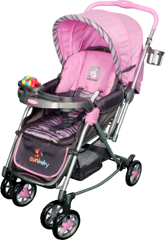Sunbaby Pink Abi Stroller with Rocking(3 Position, Pink)