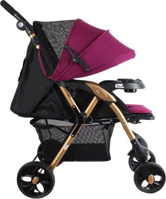 abdc kids Baby Pram Stroller with Adjustable Handlebar Seat Cushion Golden Frame Contemporary design