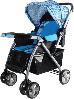 abdc kids Baby Pram Stroller with Reversible Handlebar,Dual Brakes,Shocker & European Styling
