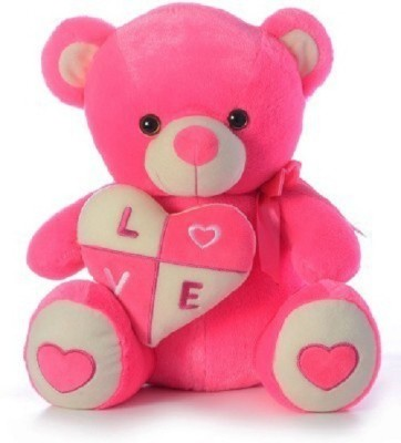 Cuddles collections Stuffed Bear With Heart  - 38 cm(Pink)