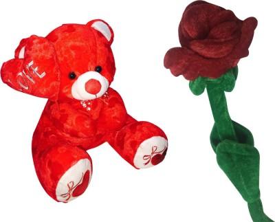Priyankish Red Side Love Teddy Soft Toy & Rose Soft Toy Gift Set