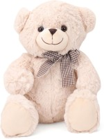 Starwalk Bear Plush Cream Colour with Side Checkered Bow  - 30 cm(Multicolour)