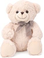 Starwalk Bear Plush Cream Colour with Side Checkered Bow  - 30 cm(Multicolour)