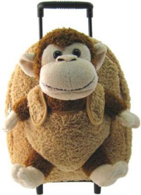 Kreative Kids, Inc Kids Beige Rolling Backpack With Monkey Stuffie