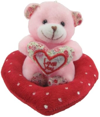Tickles Cute Teddy Sitting In The Heart  - 13 cm(Pink)