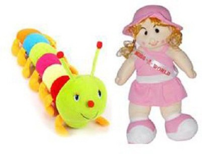 TANISI Lovely Cute Miss World Doll & Colorful Caterpillar Combo Soft Toys Pack of 2  - 55 cm(Multicolour)