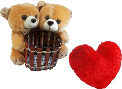 Saugat Traders Couple Teddy Pen Stand With Heart - 6.3 Inch