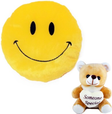 Now-N-New Smiley Cushion and Someone Special Teddy Combo  - 35 cm