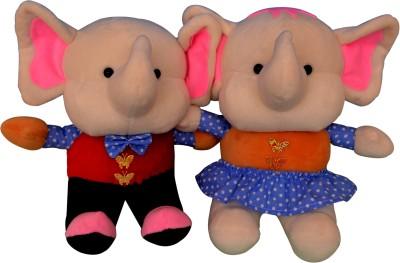 Funtastik Multicolor Party Couple Elephants  - 25 cm
