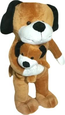 Soft Buddies Brown Dog with Baby  - 13 inch