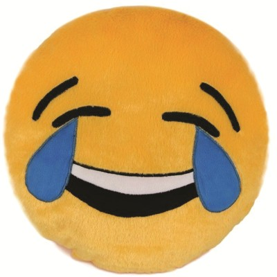 Skylofts Laughing Emoji Stuffed Smiley Pillow Cushion  - 35 cm(Yellow)