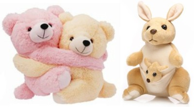Tabby Cuple Teddy Bear and 1 Kangaroo with One Kangaroo Kids Combo  - 27 cm