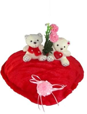 Tickles Couple Teddy on a Heart With Flower  - 35 cm