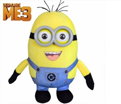 Kuhu Creations High Quality Despicable Me 3D Resin Eyes Yellow Minion Laugh Plush Doll Stuffed Toy For Children kids Popular Gift  - 28 cm