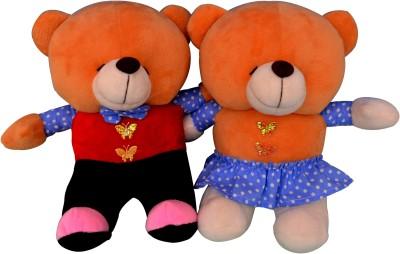Funtastik Multicolor Party Couple Teddy Bears  - 25 cm