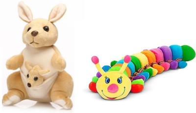Tabby Colorful Catterpiller and 1 Kangaroo with One Kangaroo Kids Combo  - 35 cm