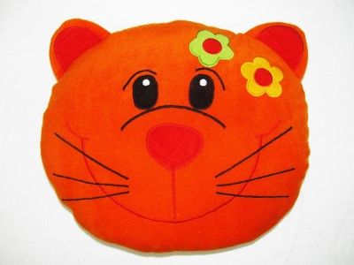 Cushion And Toys Cat Face Shaped Cushion / Stuffed Toys  - 14 Inch