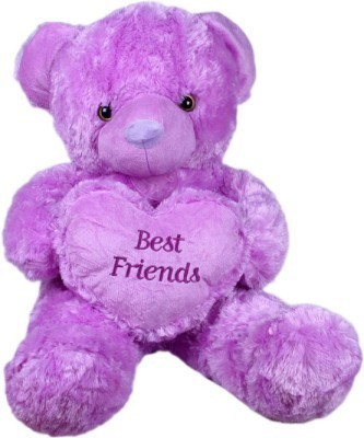 Cuddles Collections Heart teddy Purple  - 55 cm