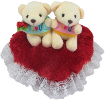Tickles Couple Teddy On Heart  - 22 cm(Red)