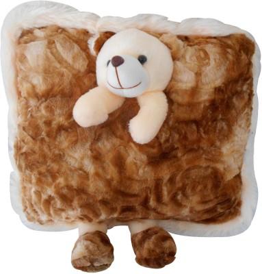 Saugat Traders Stuffed Teddy Pillow  - 22 cm(Brown)