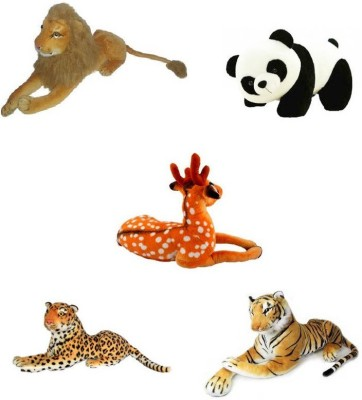Meeras Combo Of Panda, Lion, Tiger, Deer, Cheetah Stuffed Soft Plush Toy  - 12 inch