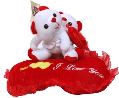 Dream Deals COUPLE TEDDY ON RED CUSHION  - 30 cm