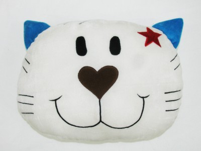 Cushion And Toys White Cat Face Shaped Cushion / Stuffed Toys  - 11 Inch
