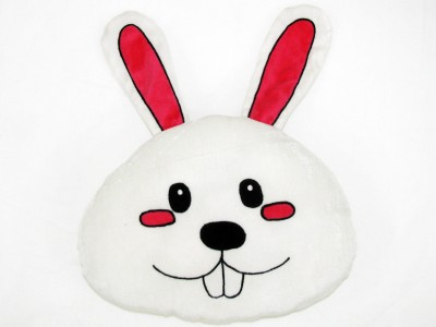 Cushion And Toys White Bunny Face Shaped Cushion / Stuffed Toys  - 11 Inch