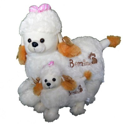 Gifts & Arts Soft Poodle Dog With Baby  - 40 cm
