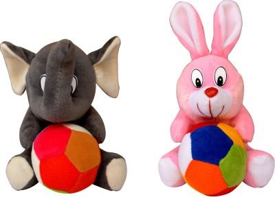 Funtastik Pink Bunny and Grey Elephant  - 15 cm