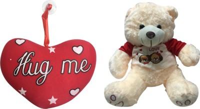 Priyankish Hug Me Heart & Cream Teddy Soft Toy Gift Set