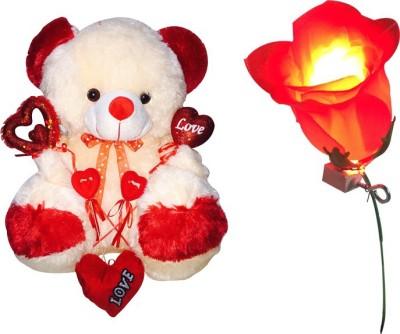 Priyankish Light Rose & Cream Red Teddy Soft Toy Gift Set