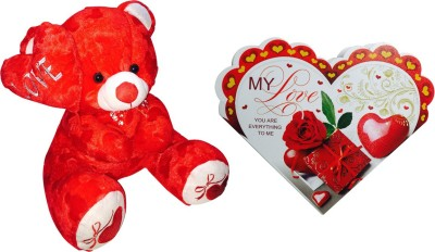 Priyankish Red Side Love Teddy Soft Toy & Heart Card Gift Set