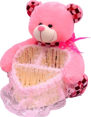 U Smile Bear w/ Heart Basket 25 Cm  - 25 cm