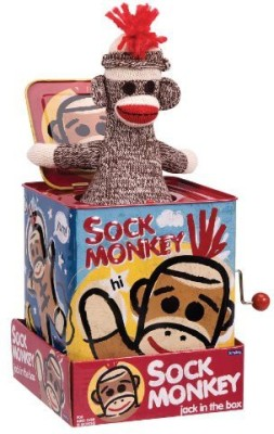 Schylling Sock Monkey Jack in the Box  - 3.5 inch
