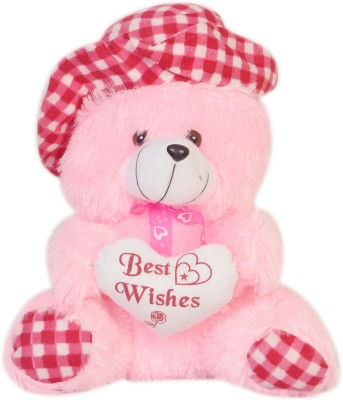 Dream Deals Pink Teddy With Check Hat  - 35 cm