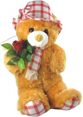 Tickles Cute Teddy with Rose  - 45 cm