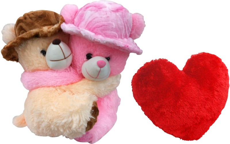 Saugat Traders Couple Teddy with Heart  - 34 cm(Multicolor)