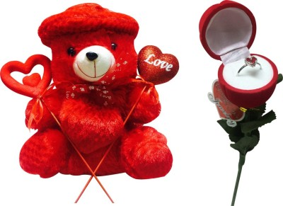Priyankish Red Teddy with Red Cap Soft Toy & Ring Rose Gift Set