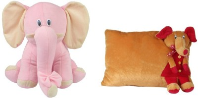 Deals India Deals India Brown Elephant Pillow And Pink Sitting Elephant  - 10 cm