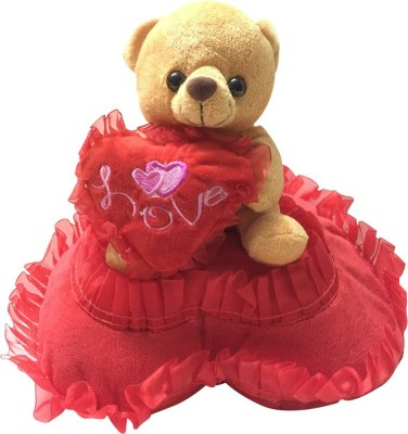 Priyankish Brown Teddy on Red Pillow Soft Toy Gift Set