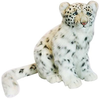 Hansa Snow Leopard Cub Plush Animalsitting(White)