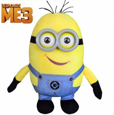 Kuhu Creations High Quality Despicable Me 3D Resin Eyes Yellow Minion Plush Doll Stuffed Toy For Children kids Popular Gift  - 28 cm