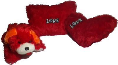 De Hoy-Hoy Set of 3 Heart Shape Love Soft Tickle Cushion Pillow Dog Teddy Bear Valentine Love Gift  - 35 cm