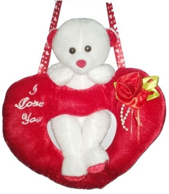 GRJ India Swinging Teddy On Love Heart  - 5 Inch(White)