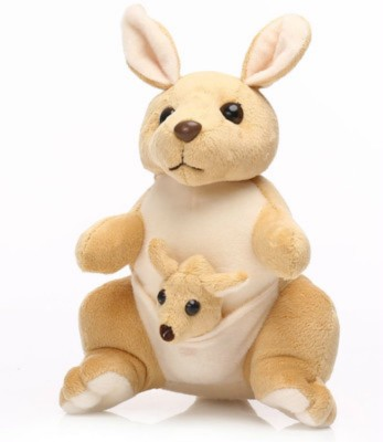 Tabby Kangaroo With Baby In Pouch  - 42 cm