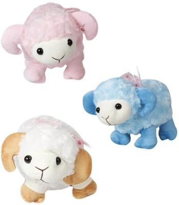 Demkas Stuffed Sheep Toy  - 8 cm(Pink, Blue, White)