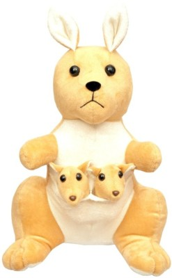 Tabby Mother Kangaroo With Two Cute & Innocent Babies  - 38 cm