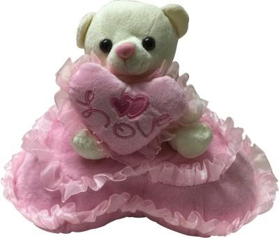Priyankish White Teddy on Pink Pillow Soft Toy Gift Set